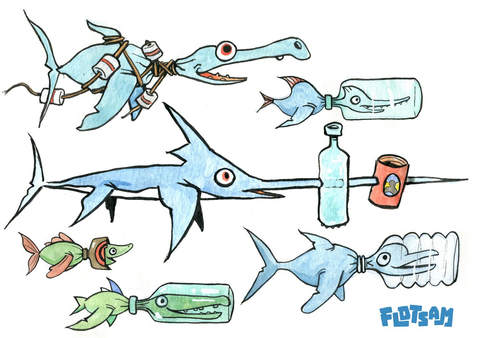 Flotsam game friendly fish concept