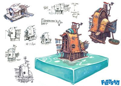 Flotsam Fisherman's Hut concept art